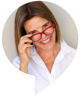 middle aged woman wearing red glasses